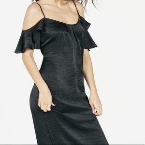 Cold shoulder slip dress black size XL never worn